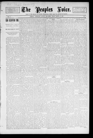 Primary view of object titled 'The Peoples Voice. (Norman, Okla.), Vol. 4, No. 35, Ed. 1 Saturday, March 28, 1896'.