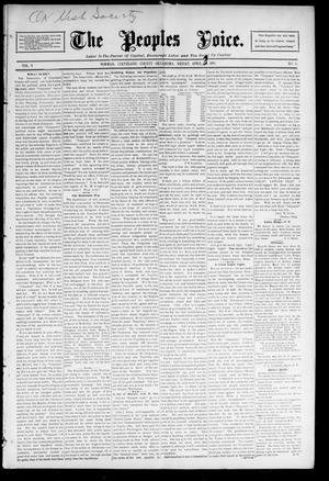 Primary view of object titled 'The Peoples Voice. (Norman, Okla.), Vol. 4, No. 36, Ed. 1 Friday, April 3, 1896'.