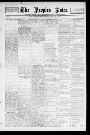 Primary view of object titled 'The Peoples Voice. (Norman, Okla.), Vol. 4, No. 38, Ed. 1 Friday, April 17, 1896'.