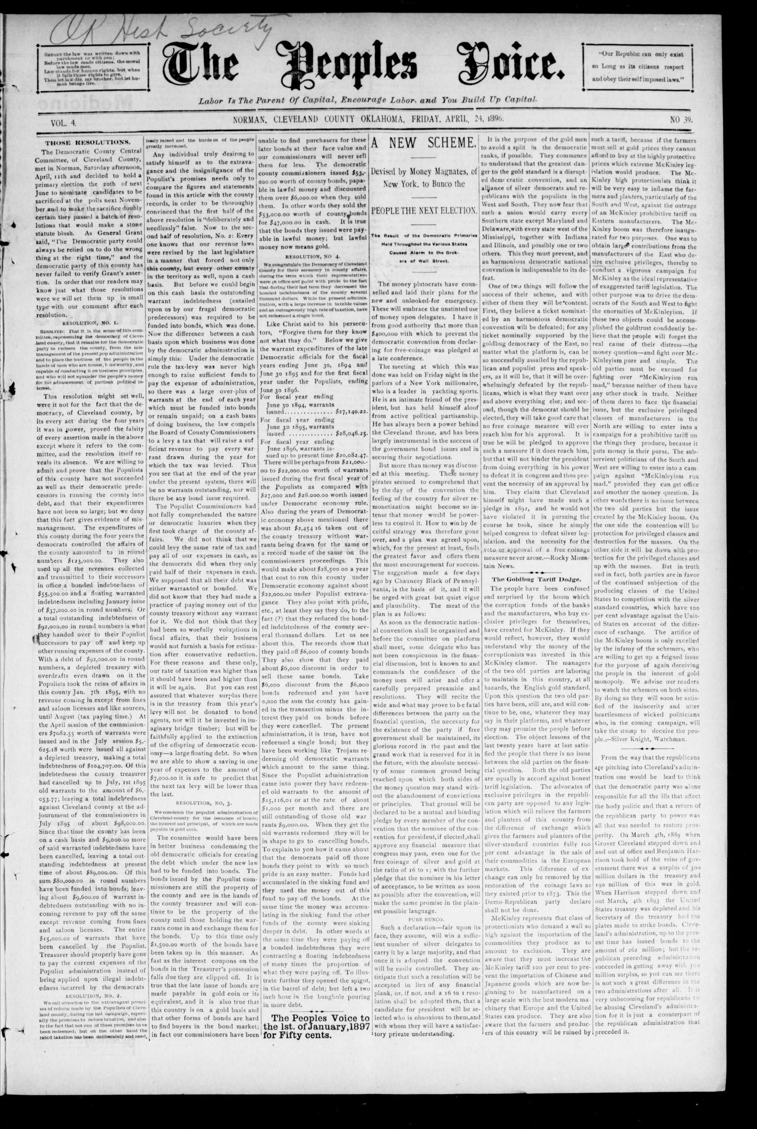 The Peoples Voice. (Norman, Okla.), Vol. 4, No. 39, Ed. 1 Friday, April 24, 1896                                                                                                      [Sequence #]: 1 of 8