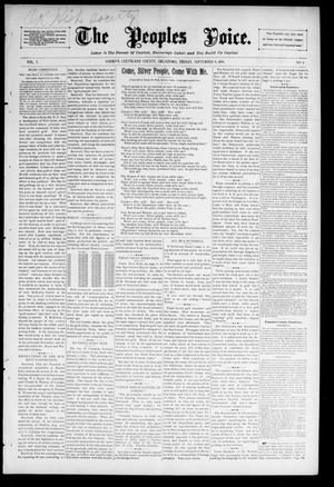 Primary view of object titled 'The Peoples Voice. (Norman, Okla.), Vol. 5, No. 6, Ed. 1 Friday, September 4, 1896'.