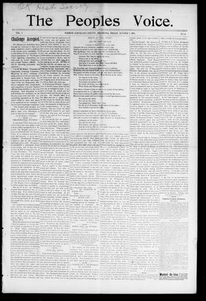 Primary view of object titled 'The Peoples Voice. (Norman, Okla.), Vol. 5, No. 10, Ed. 1 Friday, October 2, 1896'.