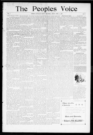 Primary view of object titled 'The Peoples Voice (Norman, Okla.), Vol. 5, No. 36, Ed. 1 Friday, April 2, 1897'.