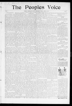 Primary view of object titled 'The Peoples Voice (Norman, Okla.), Vol. 5, No. 38, Ed. 1 Friday, April 16, 1897'.