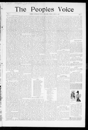Primary view of object titled 'The Peoples Voice (Norman, Okla.), Vol. 5, No. 39, Ed. 1 Friday, April 23, 1897'.