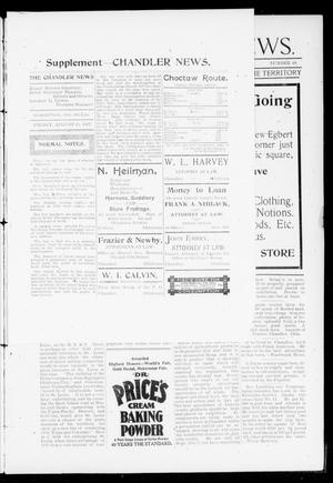 Primary view of object titled 'The Chandler News. (Chandler, Okla.), Vol. 6, Ed. 2 Friday, August 6, 1897'.