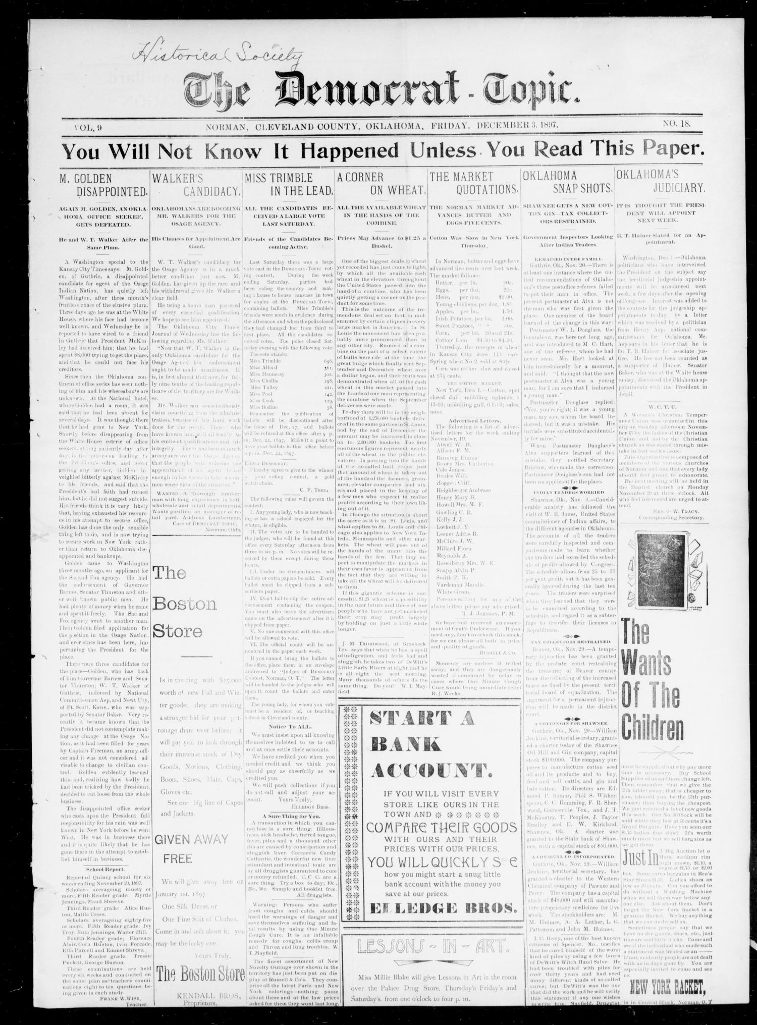 The Democrat-Topic. (Norman, Okla.), Vol. 9, No. 18, Ed. 1 Friday, December 3, 1897                                                                                                      [Sequence #]: 1 of 4