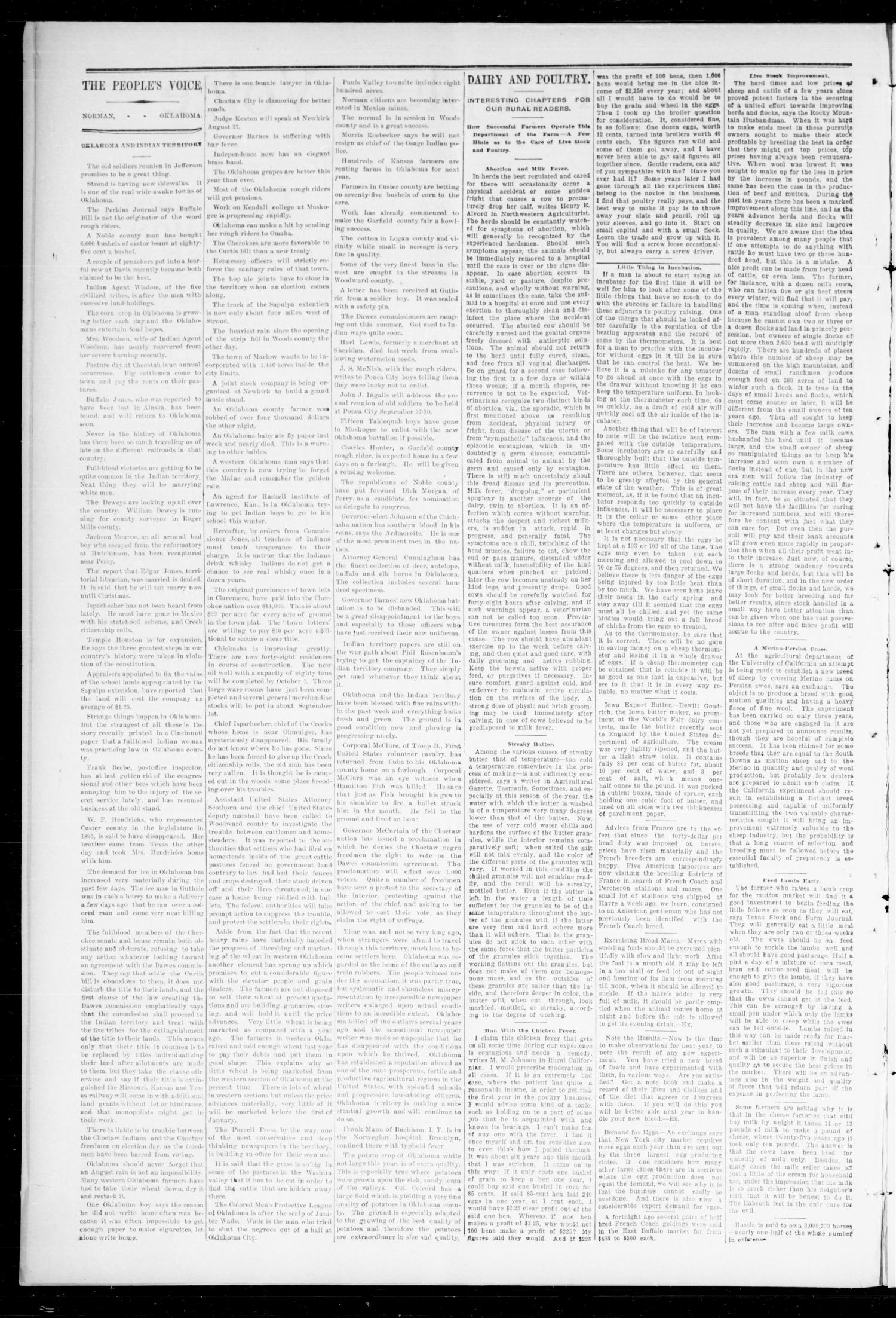 The Peoples Voice (Norman, Okla.), Vol. 7, No. 5, Ed. 1 Friday, August 26, 1898                                                                                                      [Sequence #]: 2 of 8