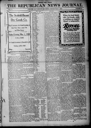 Primary view of object titled 'The Republican News Journal. (Newkirk, Okla.), Vol. 15, No. 32, Ed. 1 Friday, May 1, 1908'.