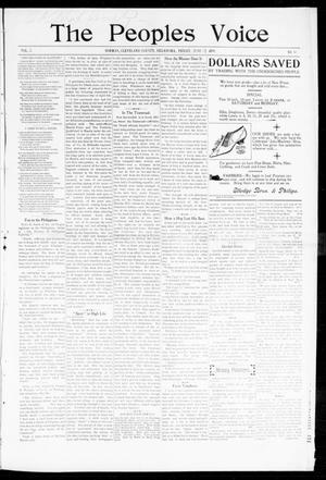 Primary view of object titled 'The Peoples Voice (Norman, Okla.), Vol. 7, No. 48, Ed. 1 Friday, June 23, 1899'.