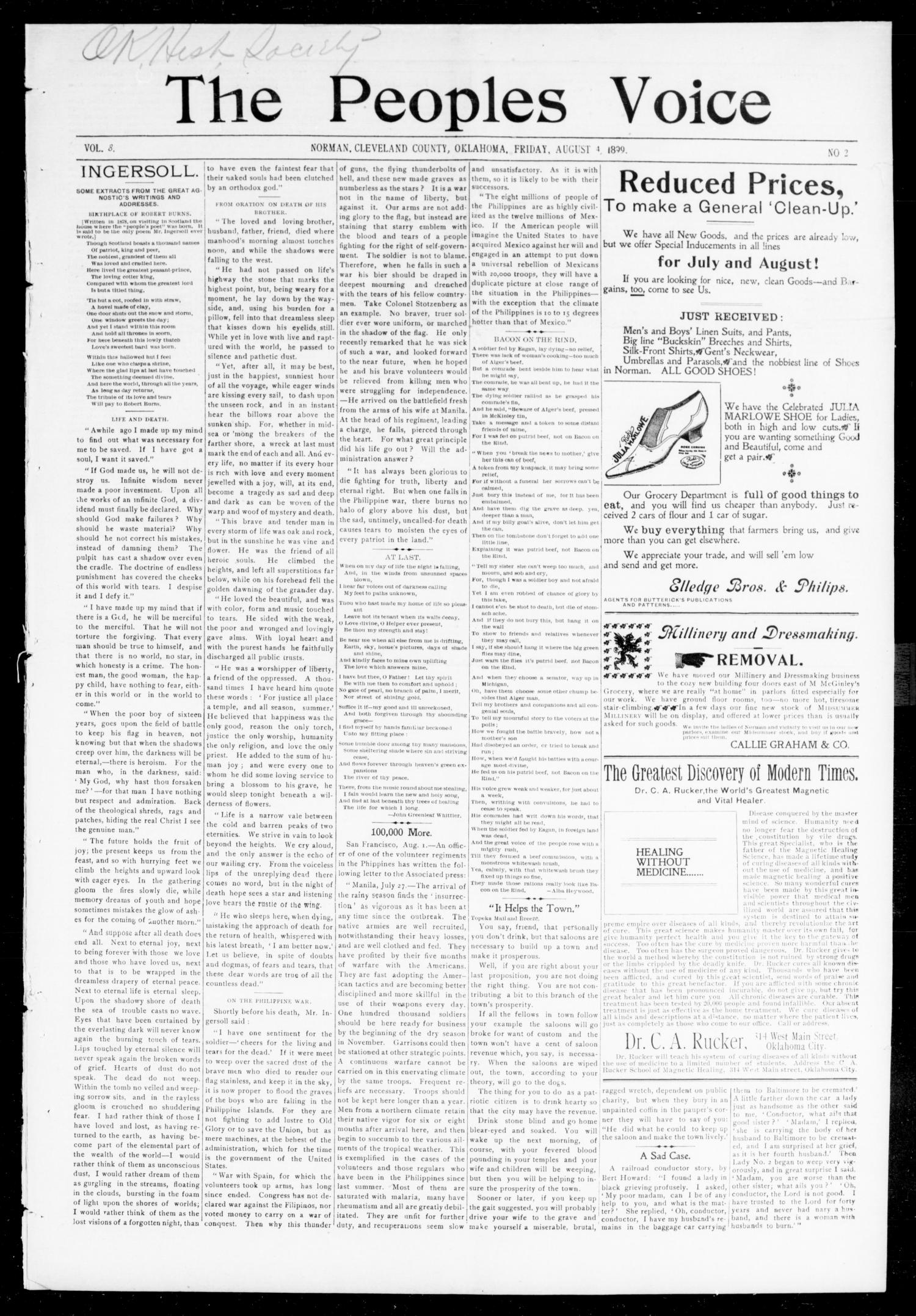 The Peoples Voice (Norman, Okla.), Vol. 8, No. 2, Ed. 1 Friday, August 4, 1899                                                                                                      [Sequence #]: 1 of 8