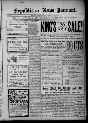 Primary view of Republican News Journal. (Newkirk, Okla. Terr.), Vol. 8, No. 6, Ed. 1 Friday, November 23, 1900
