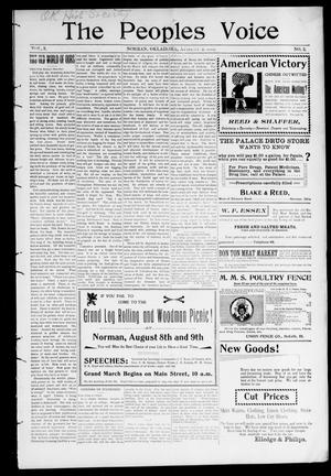 The Peoples Voice (Norman, Okla.), Vol. 9, No. 2, Ed. 1 Friday, August 3, 1900