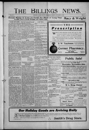 Primary view of object titled 'The Billings News. (Billings, Okla.), Vol. 11, No. 7, Ed. 1 Friday, November 12, 1909'.