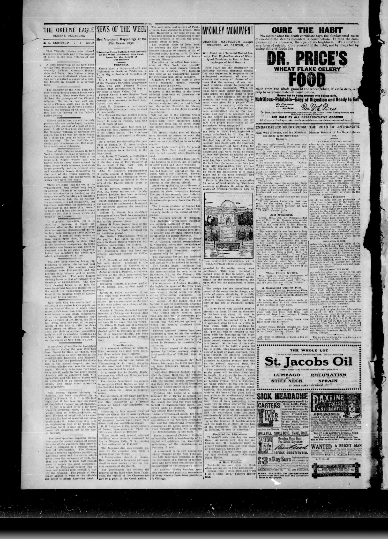 Okeene Eagle. (Okeene, Okla.), Vol. 12, No. 12, Ed. 1 Friday, January 5, 1906                                                                                                      [Sequence #]: 2 of 8