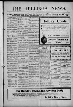 Primary view of object titled 'The Billings News. (Billings, Okla.), Vol. 11, No. 8, Ed. 1 Friday, November 19, 1909'.