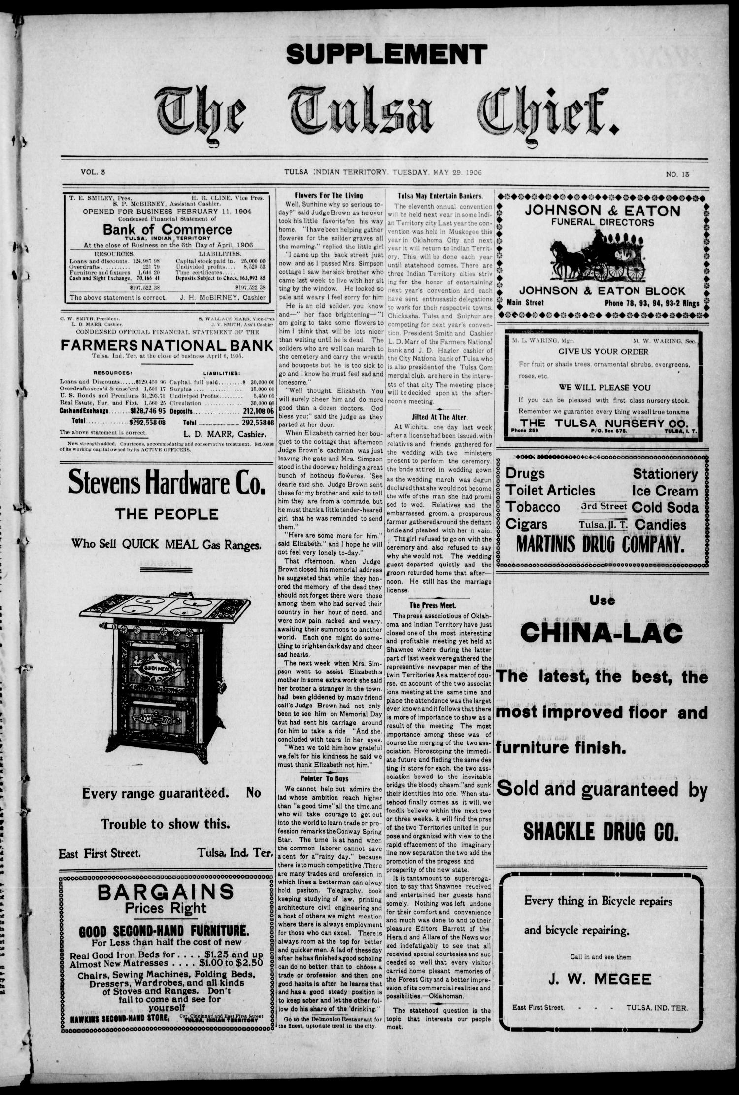 The Tulsa Chief. (Tulsa, Indian Terr.), Vol. 3, No. 13, Ed. 1 Tuesday, May 29, 1906                                                                                                      [Sequence #]: 3 of 10