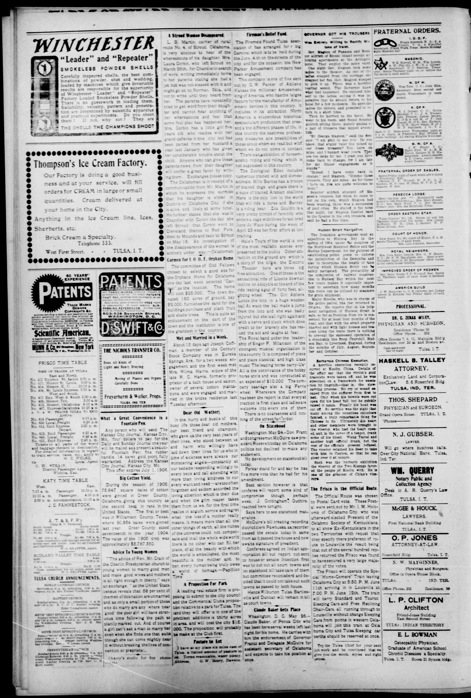 The Tulsa Chief. (Tulsa, Indian Terr.), Vol. 3, No. 13, Ed. 1 Tuesday, May 29, 1906                                                                                                      [Sequence #]: 4 of 10