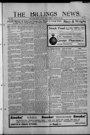 Primary view of object titled 'The Billings News. (Billings, Okla.), Vol. 12, No. 17, Ed. 1 Friday, January 27, 1911'.