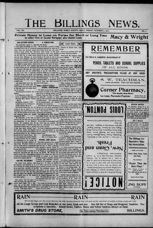 Primary view of object titled 'The Billings News. (Billings, Okla.), Vol. 12, No. 1, Ed. 1 Friday, October 7, 1910'.