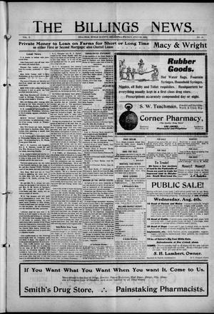 Primary view of object titled 'The Billings News. (Billings, Okla.), Vol. 10, No. 44, Ed. 1 Friday, July 30, 1909'.