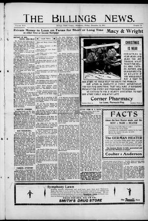 Primary view of object titled 'The Billings News. (Billings, Okla.), Vol. 13, No. 14, Ed. 1 Friday, December 15, 1911'.