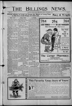 Primary view of object titled 'The Billings News. (Billings, Okla.), Vol. 11, No. 13, Ed. 1 Friday, December 24, 1909'.