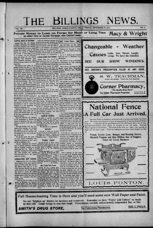 Primary view of object titled 'The Billings News. (Billings, Okla.), Vol. 12, No. 7, Ed. 1 Friday, November 18, 1910'.