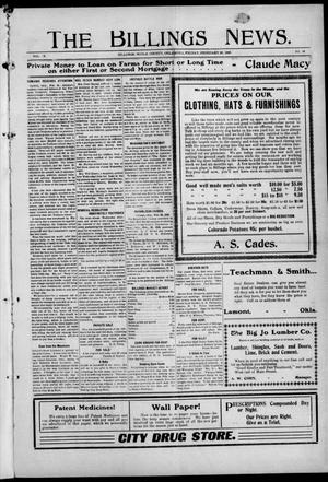 Primary view of object titled 'The Billings News. (Billings, Okla.), Vol. 9, No. 24, Ed. 1 Friday, February 28, 1908'.