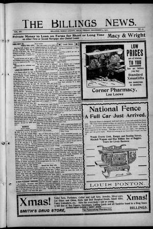 Primary view of object titled 'The Billings News. (Billings, Okla.), Vol. 12, No. 10, Ed. 1 Friday, December 9, 1910'.