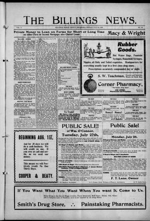 Primary view of object titled 'The Billings News. (Billings, Okla.), Vol. 10, No. 43, Ed. 1 Friday, July 23, 1909'.