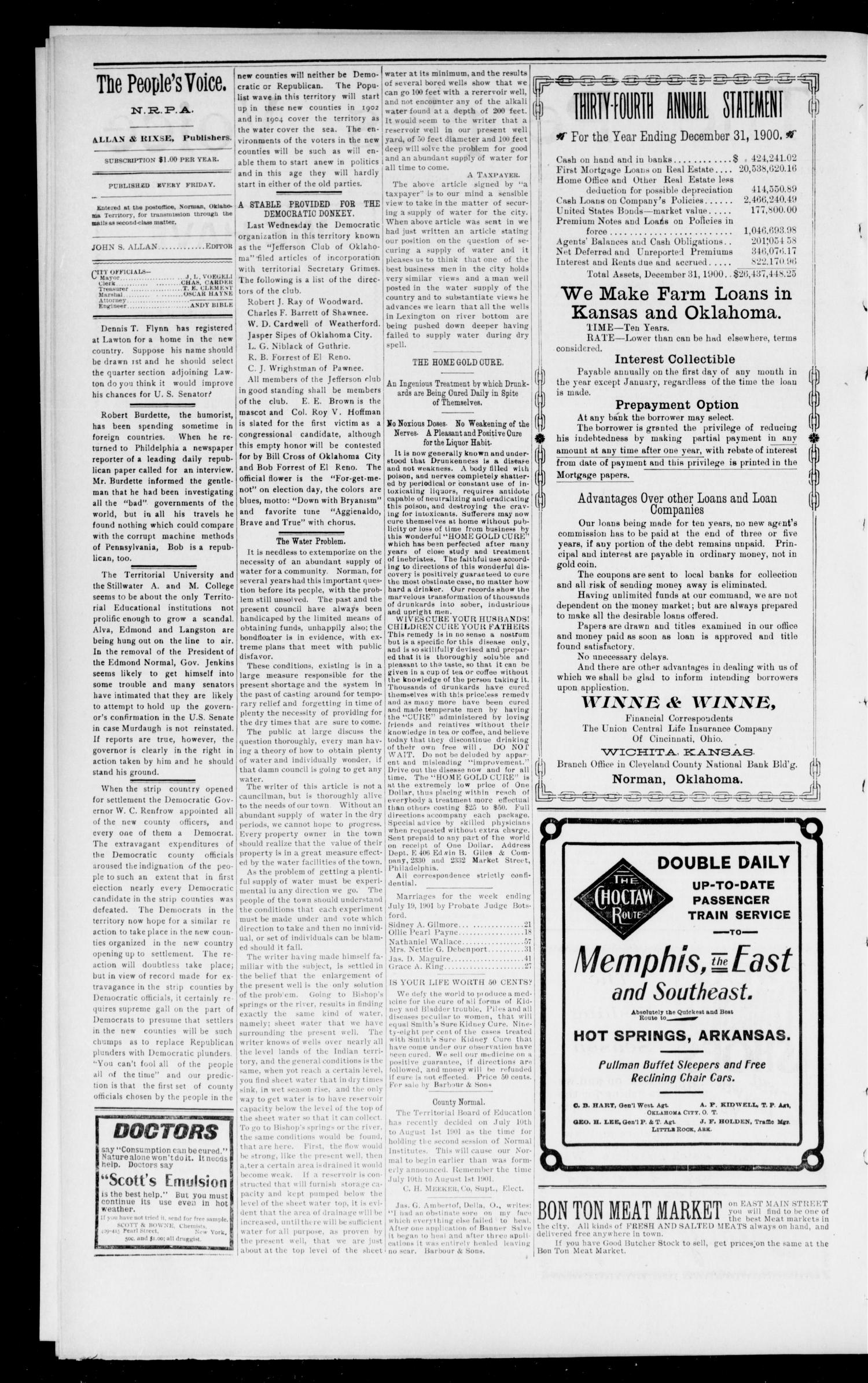 The Peoples Voice (Norman, Okla.), Vol. 9, No. 52, Ed. 1 Friday, July 19, 1901                                                                                                      [Sequence #]: 2 of 8