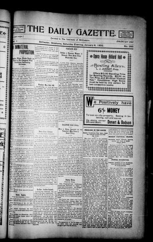 Primary view of object titled 'The Daily Gazette. (Stillwater, Okla.), Vol. 1, No. 284, Ed. 1 Saturday, January 4, 1902'.