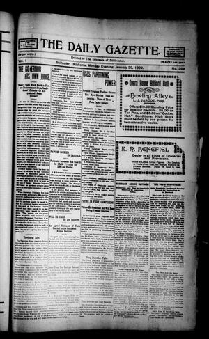 Primary view of object titled 'The Daily Gazette. (Stillwater, Okla.), Vol. 1, No. 298, Ed. 1 Monday, January 20, 1902'.