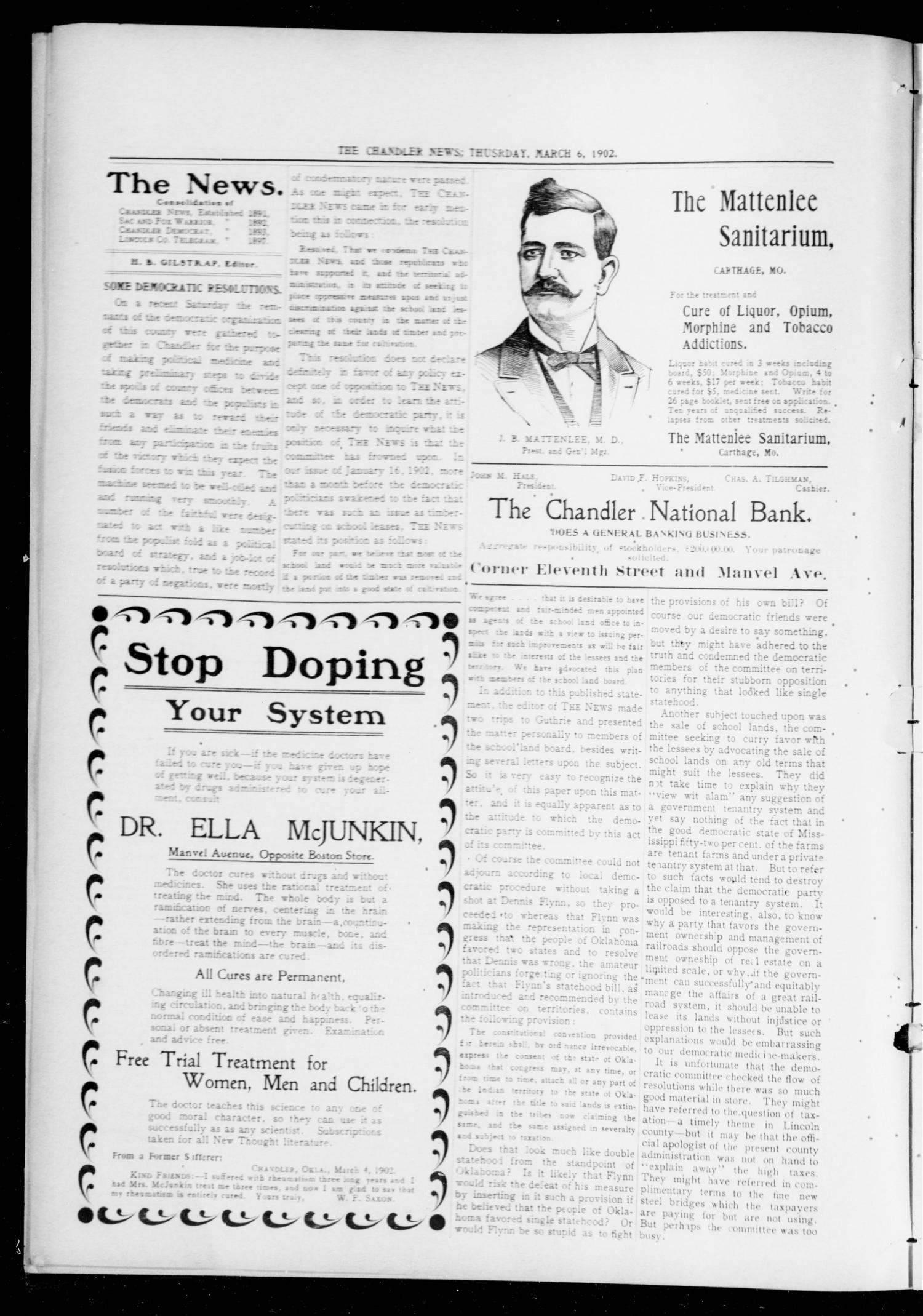 The Chandler News. (Chandler, Okla.), Vol. 11, No. 25, Ed. 1 Thursday, March 6, 1902                                                                                                      [Sequence #]: 6 of 14