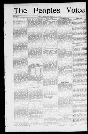 Primary view of object titled 'The Peoples Voice (Norman, Okla.), Vol. 10, No. 46, Ed. 1 Friday, June 6, 1902'.