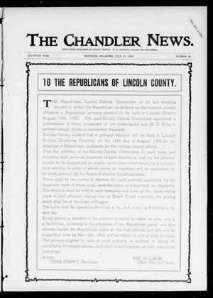 Primary view of object titled 'The Chandler News. (Chandler, Okla.), Vol. 11, No. 46, Ed. 1 Thursday, July 31, 1902'.