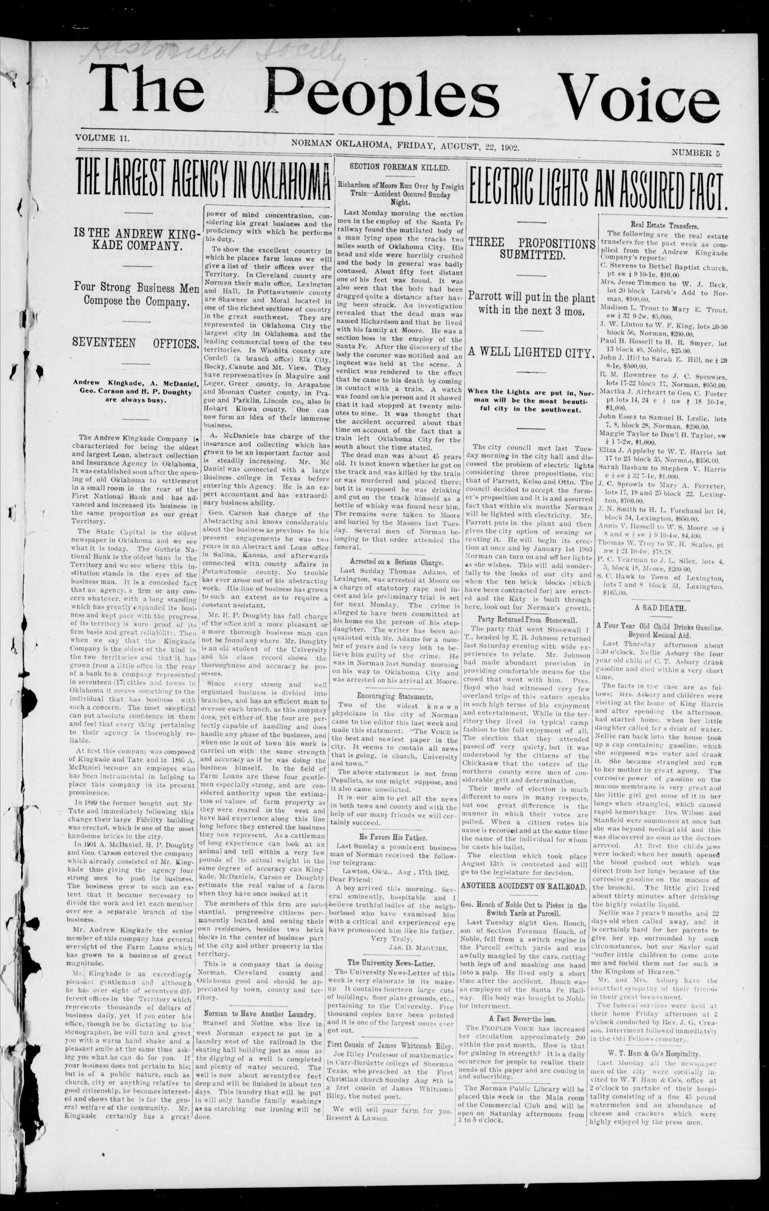 The Peoples Voice (Norman, Okla.), Vol. 11, No. 5, Ed. 1 Friday, August 22, 1902                                                                                                      [Sequence #]: 1 of 8