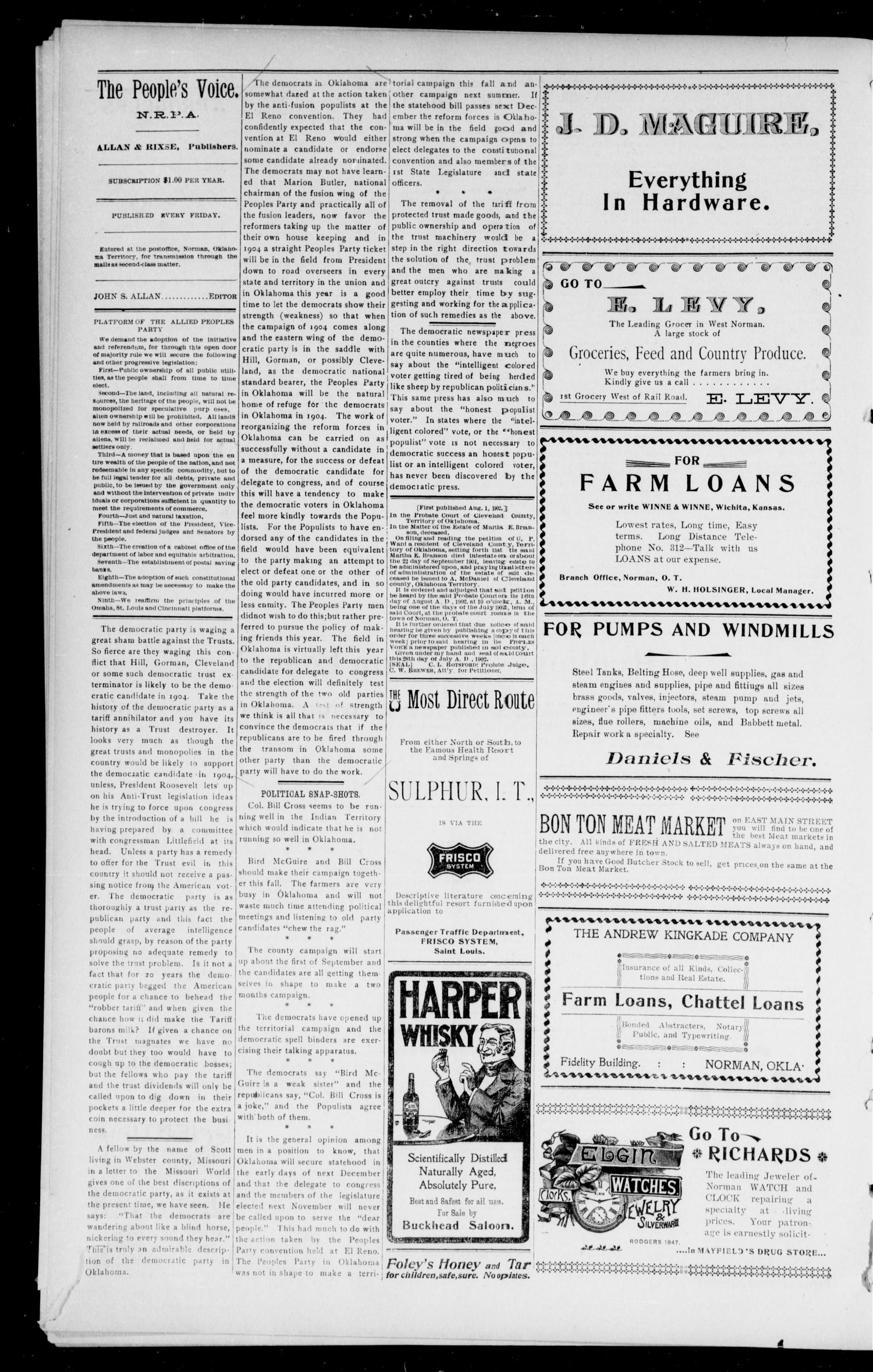 The Peoples Voice (Norman, Okla.), Vol. 11, No. 5, Ed. 1 Friday, August 22, 1902                                                                                                      [Sequence #]: 4 of 8
