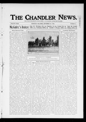 Primary view of object titled 'The Chandler News. (Chandler, Okla.), Vol. 12, No. 2, Ed. 1 Thursday, September 25, 1902'.