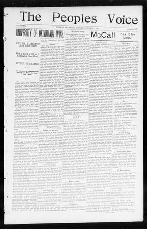 Primary view of object titled 'The Peoples Voice (Norman, Okla.), Vol. 11, No. 11, Ed. 1 Friday, October 3, 1902'.