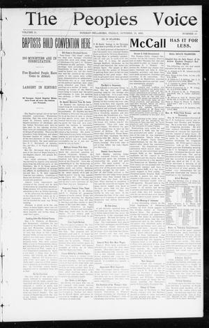 Primary view of object titled 'The Peoples Voice (Norman, Okla.), Vol. 11, No. 12, Ed. 1 Friday, October 10, 1902'.