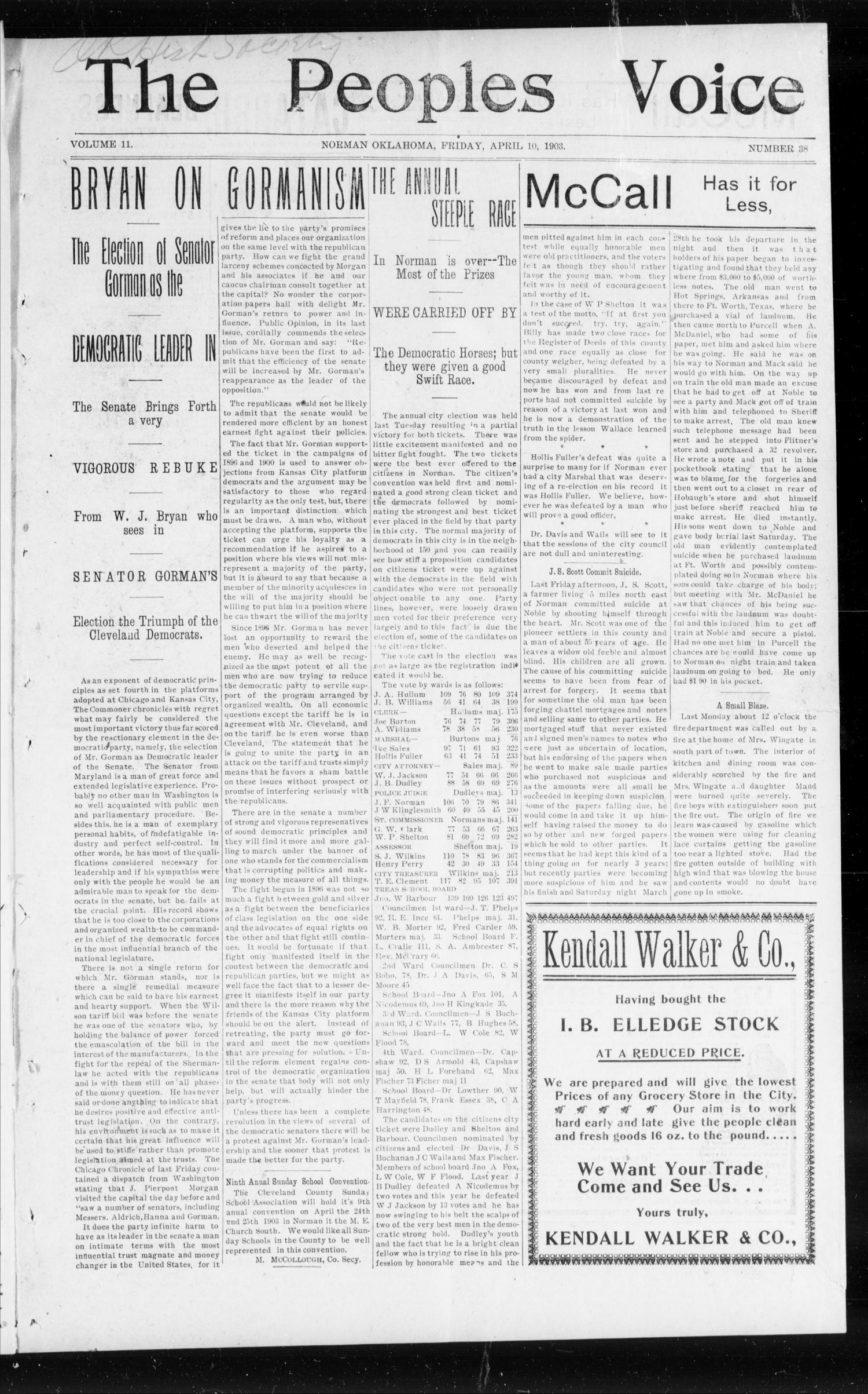 The Peoples Voice (Norman, Okla.), Vol. 11, No. 38, Ed. 1 Friday, April 10, 1903                                                                                                      [Sequence #]: 1 of 8