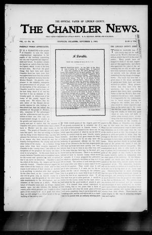 Primary view of object titled 'The Chandler News. (Chandler, Okla.), Vol. 13, No. 50, Ed. 1 Thursday, September 3, 1903'.