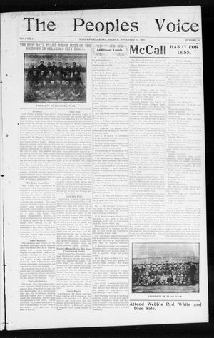 Primary view of object titled 'The Peoples Voice (Norman, Okla.), Vol. 12, No. 18, Ed. 1 Friday, November 13, 1903'.
