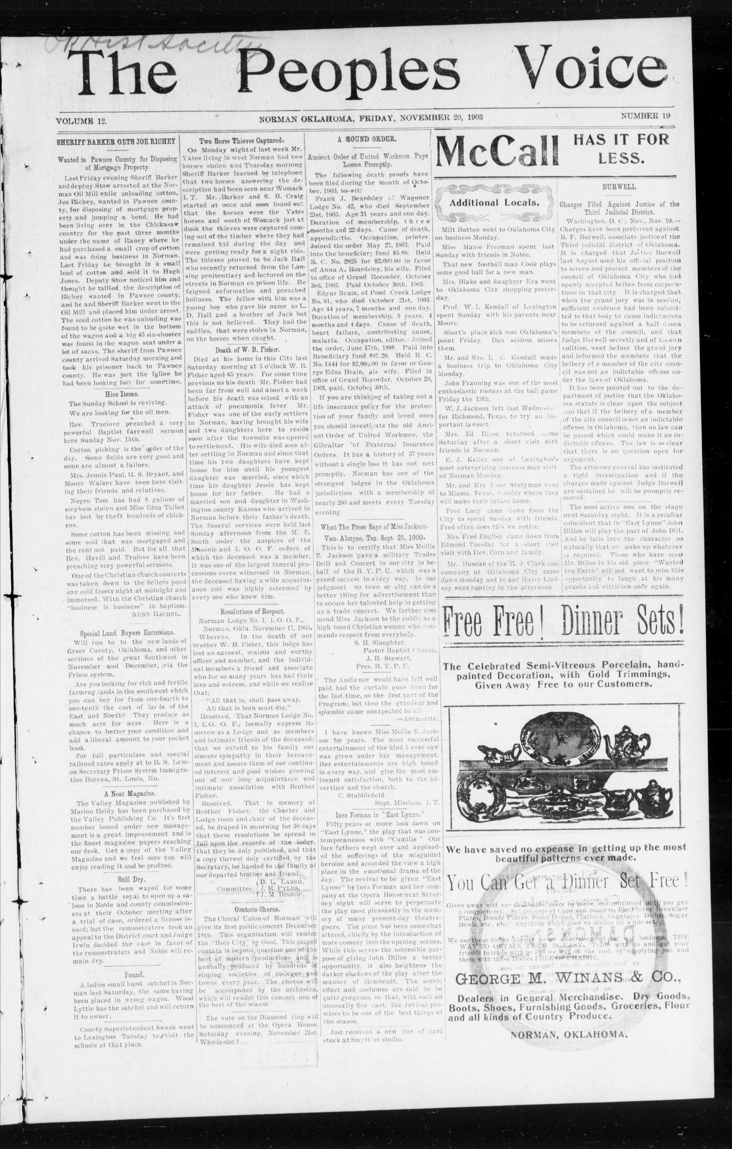 The Peoples Voice (Norman, Okla.), Vol. 12, No. 19, Ed. 1 Friday, November 20, 1903                                                                                                      [Sequence #]: 1 of 8