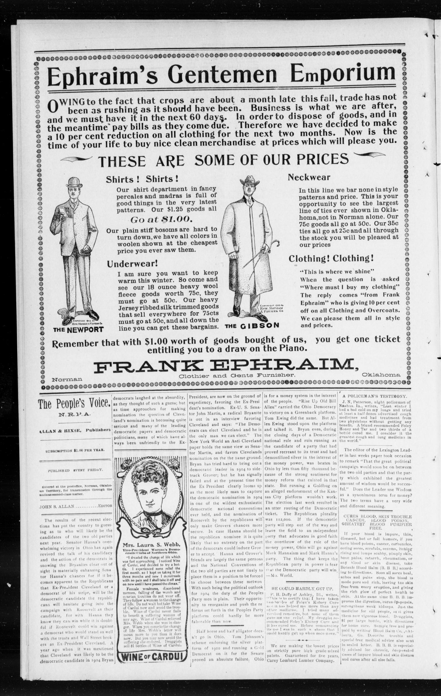 The Peoples Voice (Norman, Okla.), Vol. 12, No. 19, Ed. 1 Friday, November 20, 1903                                                                                                      [Sequence #]: 4 of 8