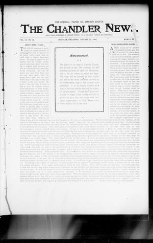Primary view of object titled 'The Chandler News. (Chandler, Okla.), Vol. 13, No. 18, Ed. 1 Thursday, January 21, 1904'.