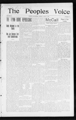 Primary view of object titled 'The Peoples Voice (Norman, Okla.), Vol. 12, No. 39, Ed. 1 Friday, April 8, 1904'.