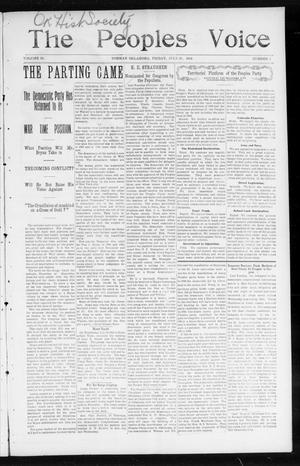 Primary view of object titled 'The Peoples Voice (Norman, Okla.), Vol. 13, No. 3, Ed. 1 Friday, July 29, 1904'.